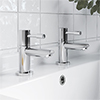 Milton Pair of Chrome Modern Lever Basin Taps profile small image view 1