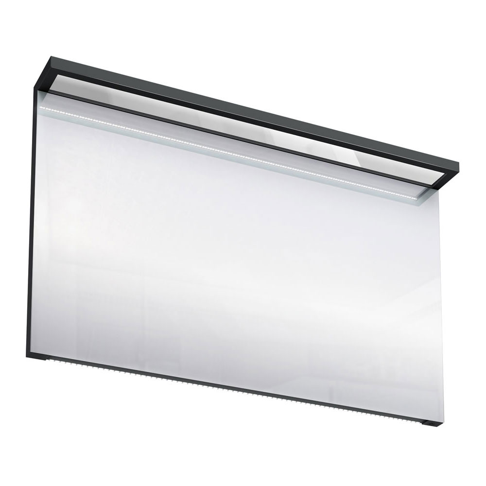 Aqua Cabinets - 1200mm Wide Illuminated LED Mirror - Black - M40B profile large image view 1