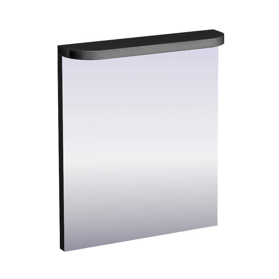 Aqua Cabinets - 600mm Wide Compact Illuminated LED Mirror - Black - M50B profile large image view 1
