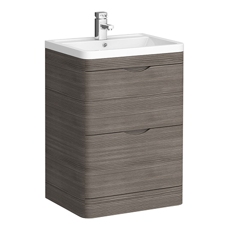 Monza Grey Avola 600mm Floor Standing Vanity Unit (Depth 450mm)