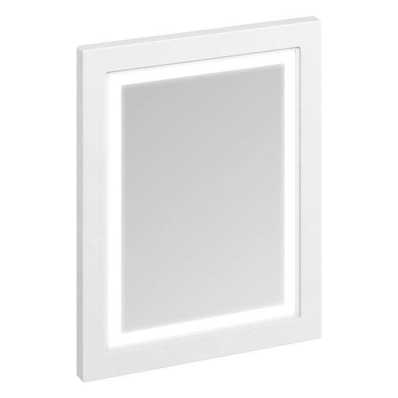Burlington Framed 60 Mirror with LED Illumination - Matt White profile large image view 1