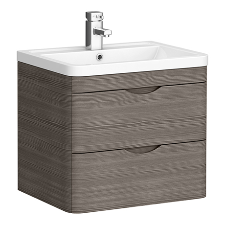 Monza Grey Avola 600mm Wall Hung 2 Drawer Vanity Unit (Depth 450mm)