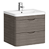 Monza Grey Avola 600mm Wall Hung 2 Drawer Vanity Unit (Depth 450mm) profile small image view 1