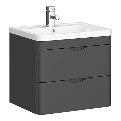 Monza Grey 600mm Wall Hung 2 Drawer Vanity Unit (Depth 450mm)