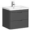 Monza Grey 600mm Wall Hung 2 Drawer Vanity Unit (Depth 450mm) profile small image view 1
