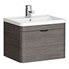 Monza Grey Avola 600mm Wall Hung 1 Drawer Vanity Unit (Depth 450mm) profile small image view 1
