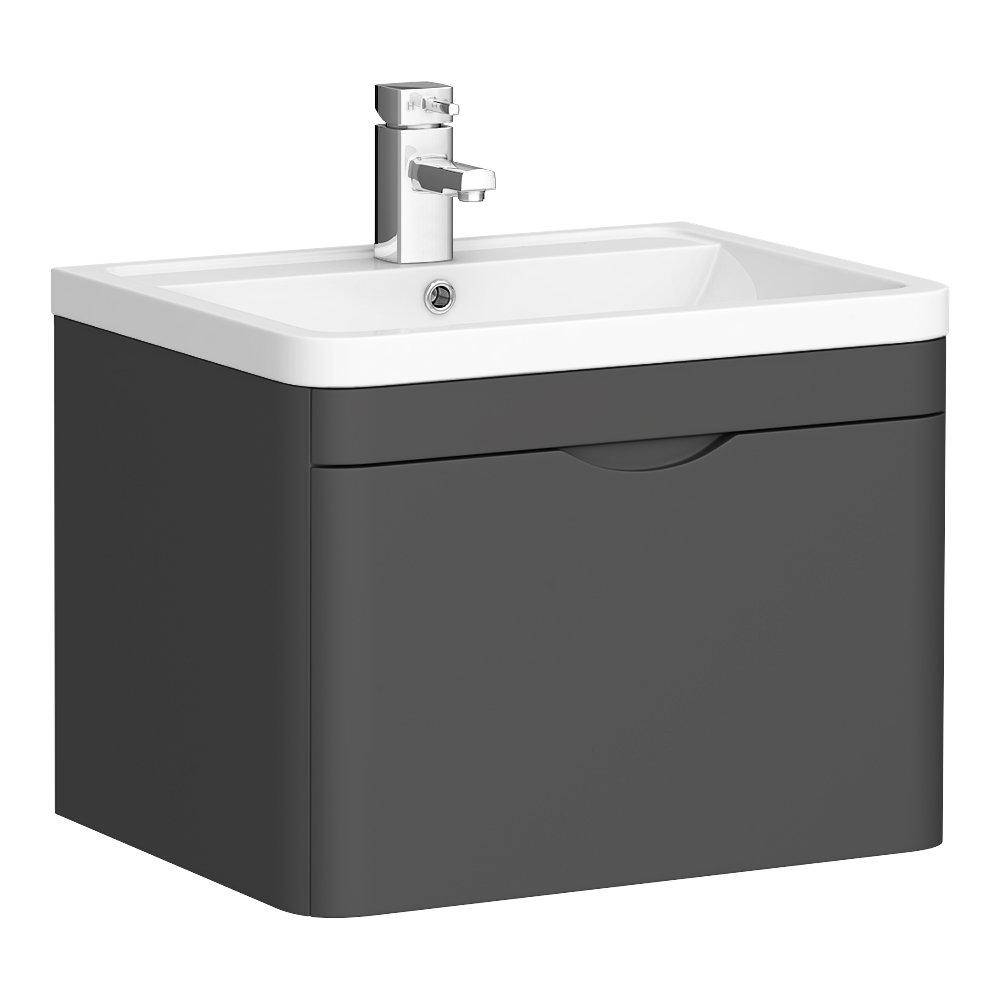 Monza Grey 600mm Wall Hung 1 Drawer Vanity Unit (Depth 450mm)