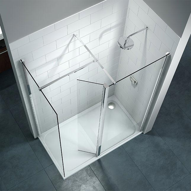 Merlyn 8 Series Walk In Enclosure with Swivel & End Panel - 1600 x 800mm profile large image view 2