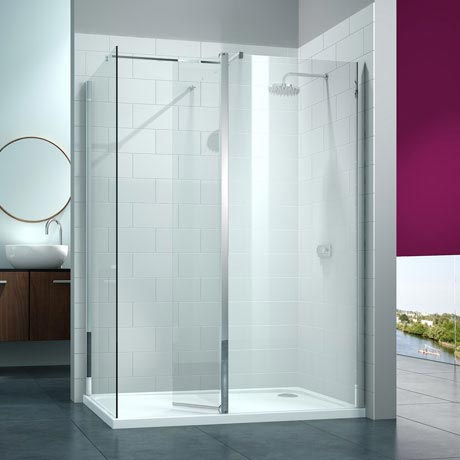 Merlyn 8 Series Walk In Enclosure with Swivel & End Panel - 1200 x 900mm