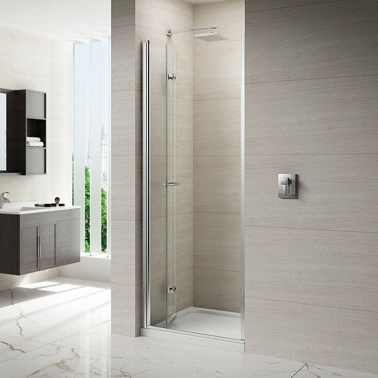 Merlyn 8 Series Frameless Hinged Bifold Shower Door  Profile Large Image