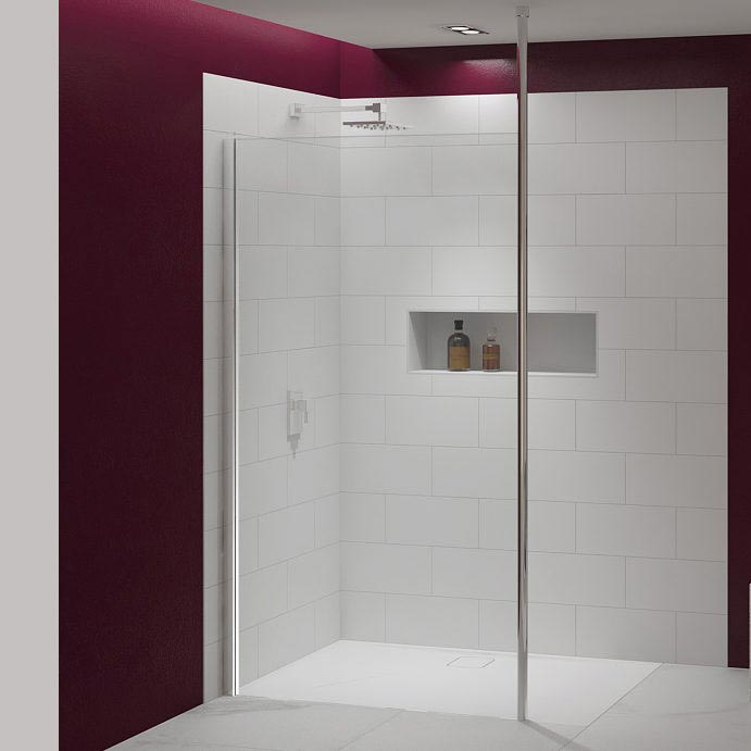 Merlyn 8 Series Wetroom Panel with Vertical Post Large Image