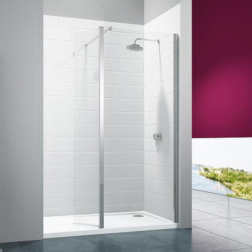 Merlyn 8 Series Wetroom Screen with Swivel Panel Large Image