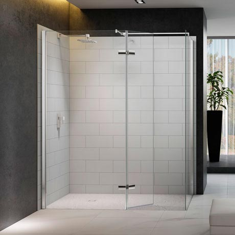 Merlyn 8 Series Walk In Enclosure with Hinged Swivel & End Panel - 1400 x 900mm