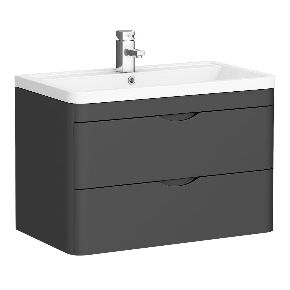 Monza Grey 800mm Wall Hung 2 Drawer Vanity Unit (Depth 450mm)