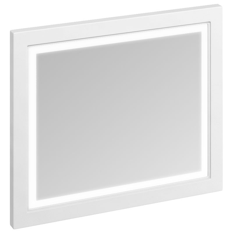 Burlington Framed 90 Mirror with LED Illumination - Matt White Large Image