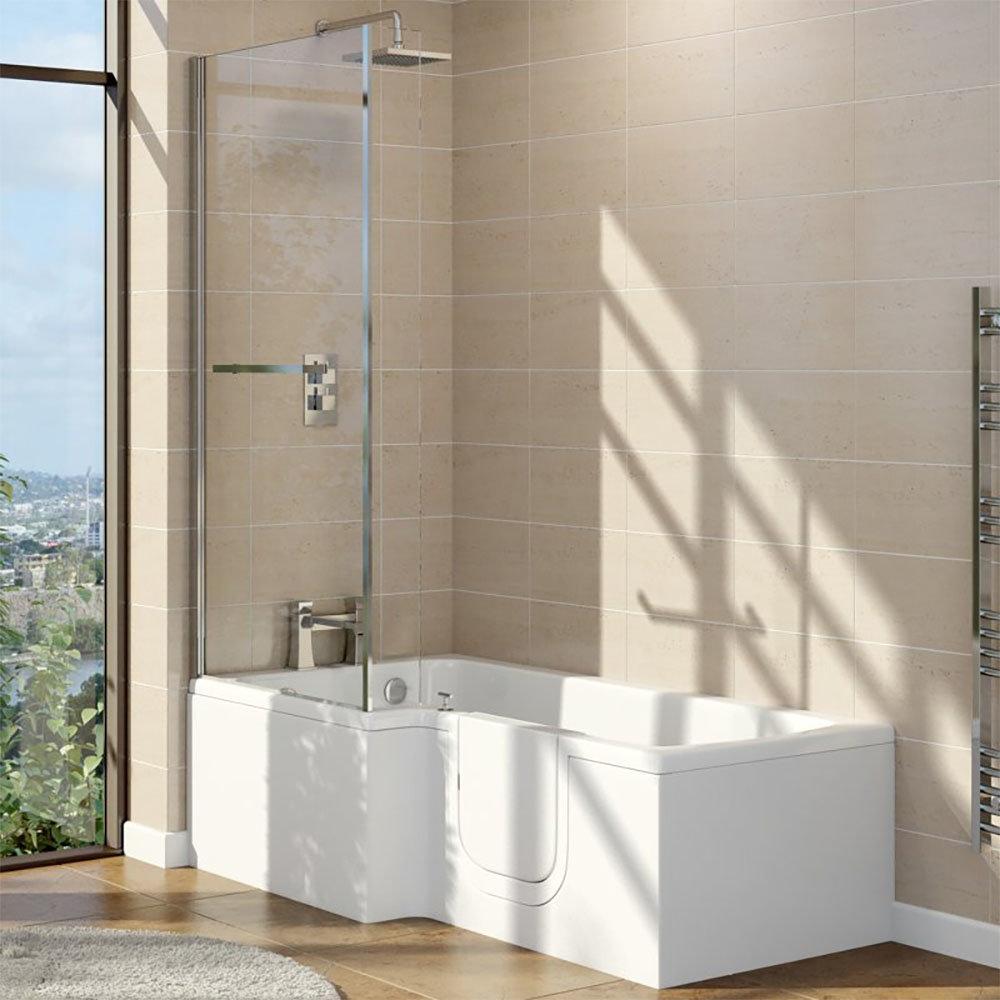Milton Walk In 1700mm L Shaped Bath inc. Screen + Panel