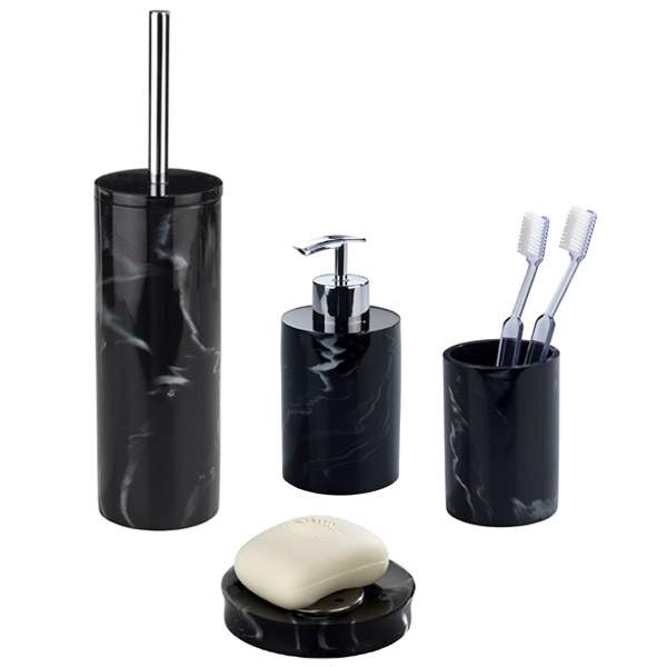 Wenko marble black bath accessories set at victorian for Stone coloured bathroom accessories