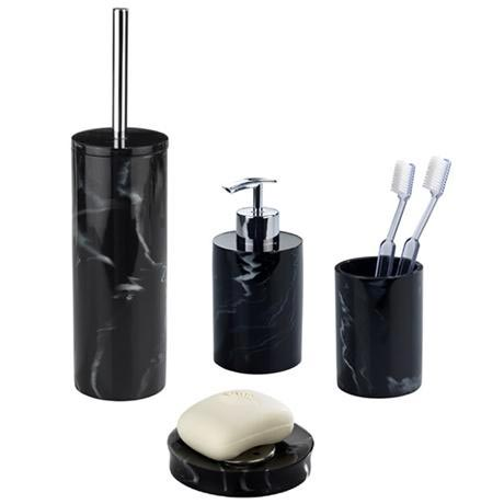 Wenko marble black bath accessories set at victorian for Marble bathroom accessories