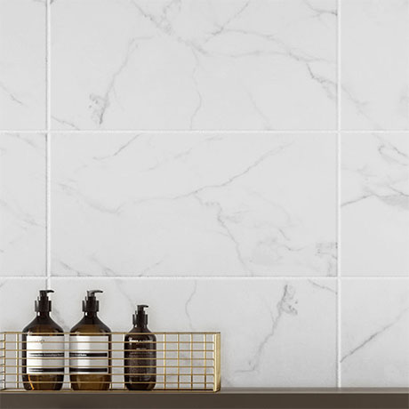 Massa Carrara Matt White Marble Ceramic Wall Tiles - 248 x 498mm