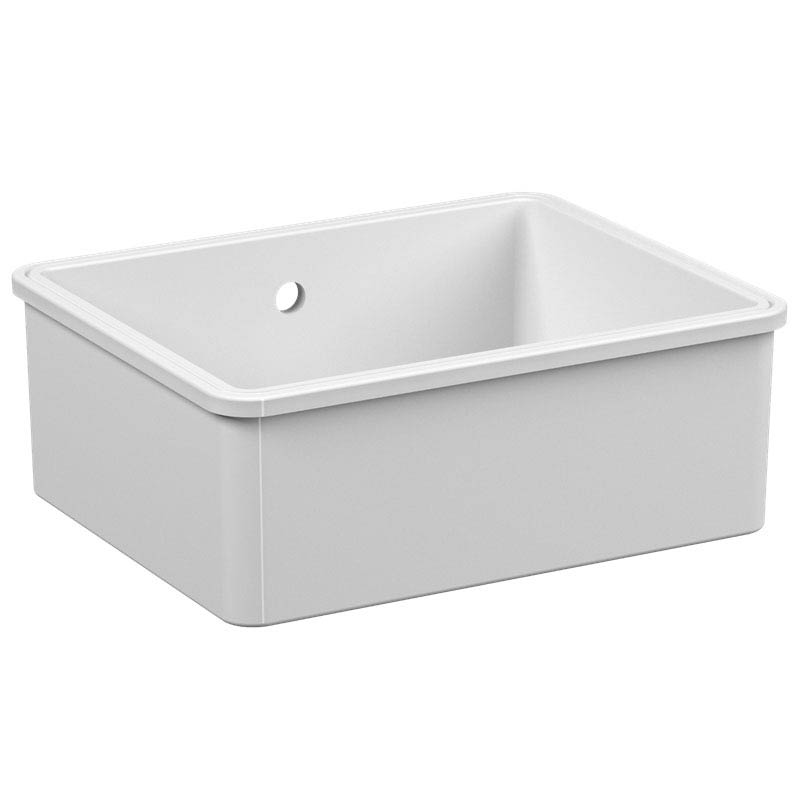 Reginox Mataro 1.0 Bowl White Ceramic Undermount Kitchen Sink profile large image view 2