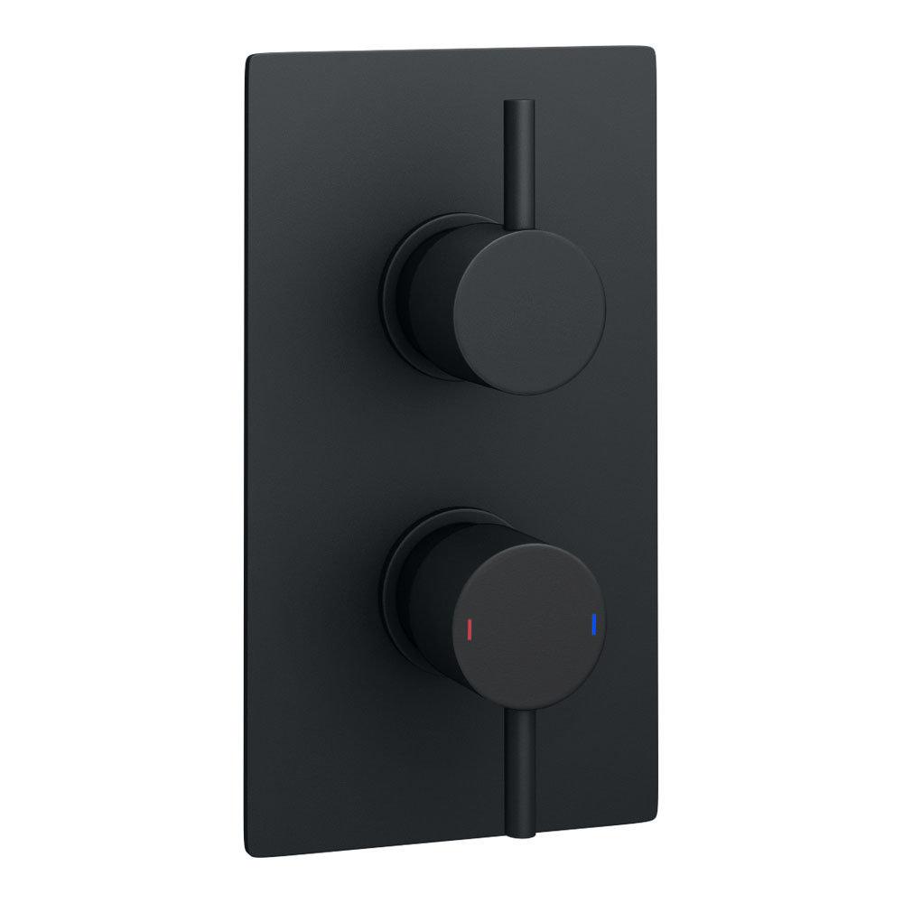 Arezzo Round Modern Twin Concealed Shower Valve with Diverter - Matt Black