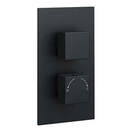 Arezzo Square Modern Twin Concealed Shower Valve with Diverter - Matt Black