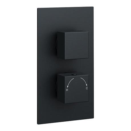Arezzo Square Modern Twin Concealed Shower Valve with Diverter - Matt Black