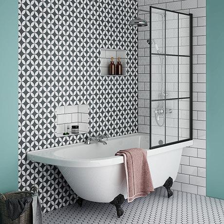 Appleby 1700 Roll Top Shower Bath with Matt Black Grid Screen + Leg Set