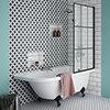 Appleby 1700 Roll Top Shower Bath with Matt Black Grid Screen + Leg Set profile small image view 1