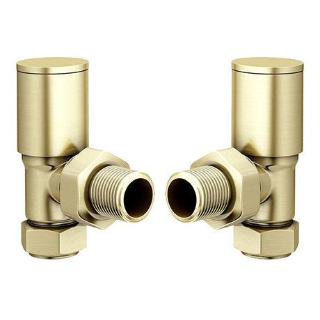 Modern Angled Radiator Valves - Brushed Brass