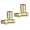 Modern Straight Radiator Valves - Brushed Brass profile small image view 1