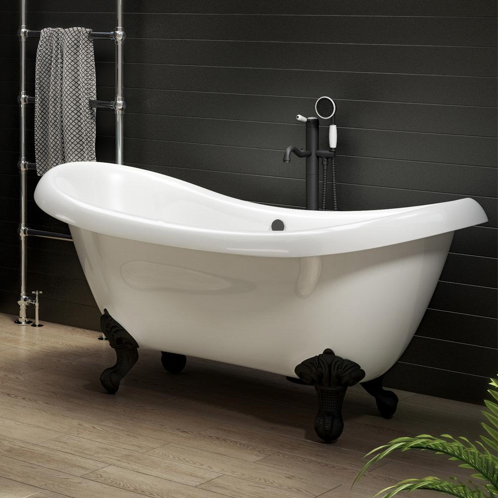 Earl 1750 Double Ended Roll Top Slipper Bath + Matt Black Leg Set