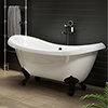 Earl 1750 Double Ended Roll Top Slipper Bath + Matt Black Leg Set profile small image view 1