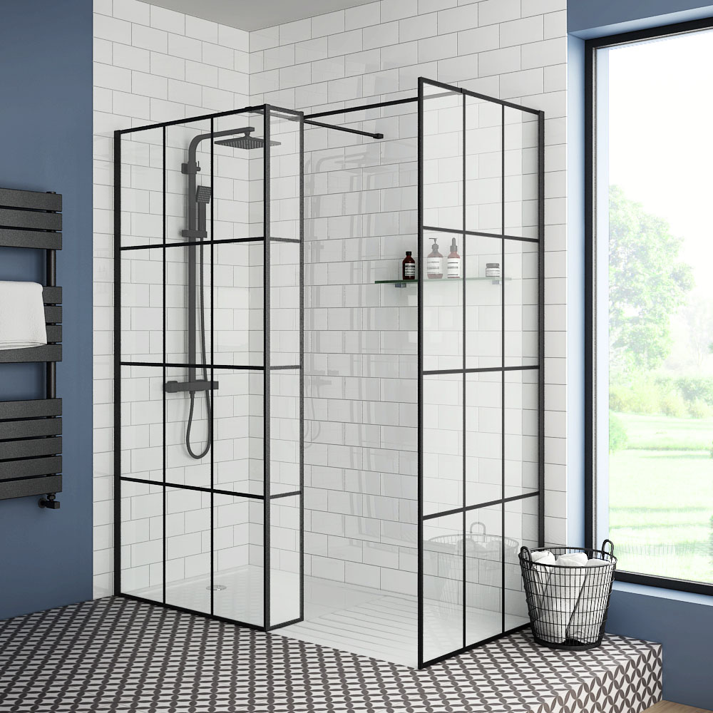 Arezzo 1950mm Matt Black Grid Wetroom Screen + Support Arm