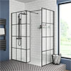 Arezzo 1950mm Matt Black Grid Wetroom Screen + Support Arm profile small image view 1