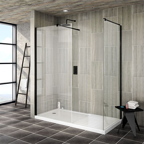 Turin 1850mm Matt Black Wetroom Screen + Square Support Arm