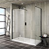 Turin 1850mm Matt Black Wetroom Screen + Square Support Arm profile small image view 1