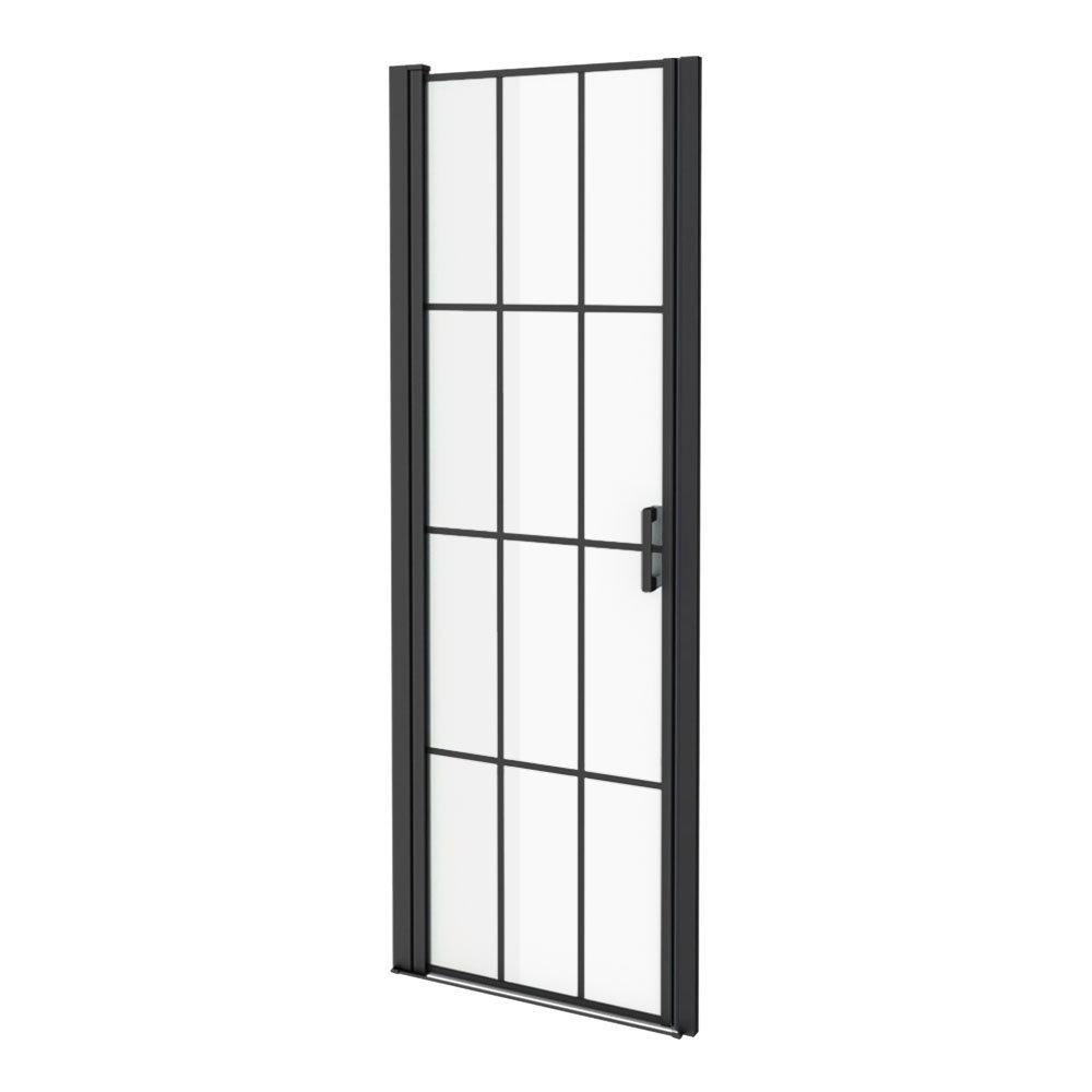 700 x 1970 Matt Black Grid Frameless Pivot Shower Door for 695-725mm Recess