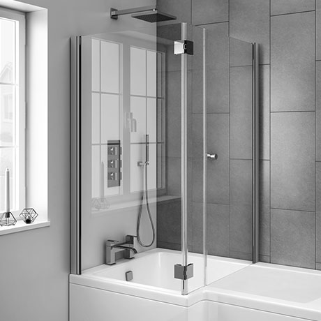 Milan Hinged Bath Screen with Joining Magnets