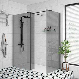 Arezzo 1900mm Grey Tinted Glass Wetroom Screen inc. Matt Black Profile + Support Arm