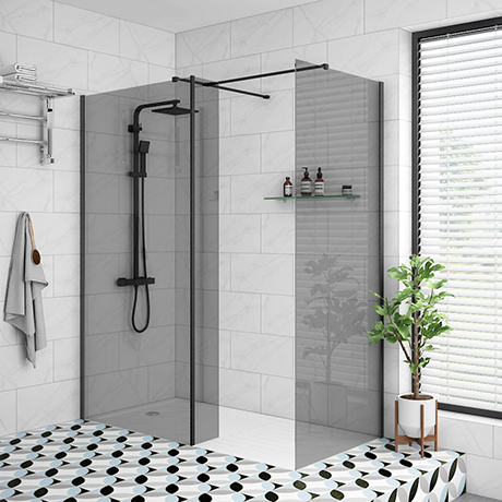 Arezzo 1900mm Grey Tinted Glass Wetroom Screen Inc. Matt Black Profile + Support Arm