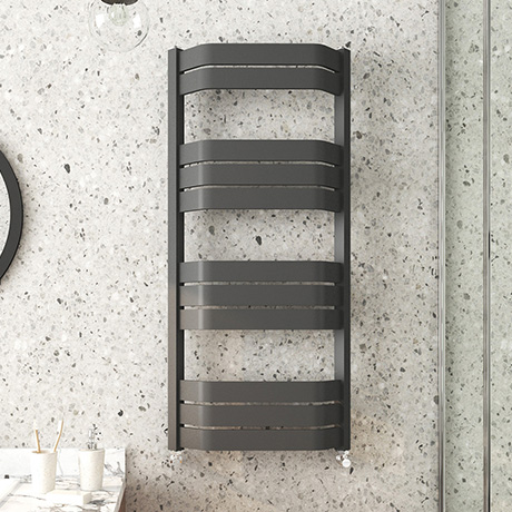 Milan Bow-Fronted Anthracite 1200 x 550 Designer Flat Panel Heated Towel Rail