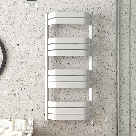 Milan Bow-Fronted White 1200 x 550 Designer Flat Panel Heated Towel Rail