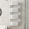 Milan Bow-Fronted White 1200 x 550 Designer Flat Panel Heated Towel Rail profile small image view 1