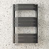 Milan Bow-Fronted Anthracite 850 x 550 Designer Flat Panel Heated Towel Rail profile small image view 1