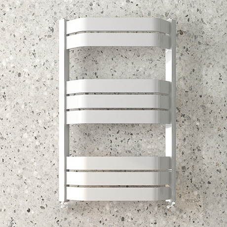 Milan Bow-Fronted White 850 x 550 Designer Flat Panel Heated Towel Rail