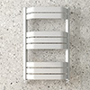 Milan Bow-Fronted White 850 x 550 Designer Flat Panel Heated Towel Rail profile small image view 1