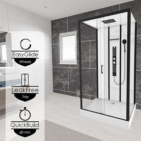 Insignia Monochrome 1150 x 850mm Rectangle Shower Cabin - MC115RT