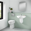 Milton 1TH Classic Bathroom Suite (BTW Pan, Concealed Cistern, Wall Hung Basin) profile small image view 1