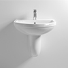 Milton 550 x 445 Wall Hung Basin with Semi Pedestal (1 Tap Hole) profile small image view 1